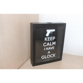 Quadro Decorativo Porta Cápsulas - KEEP CALM I HAVE A GLOCK